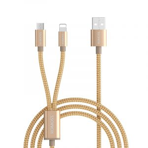 Romoss 2in1 USB to Lightning Micro USB 1.5m Cable Gold