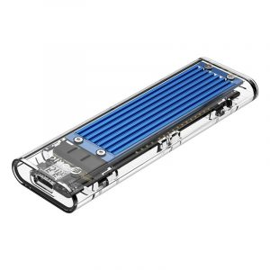 Orico M.2 NVME (2230/2242/2260/2280) to USB3.1(Device Input) Gen-2 Type-C(Enclosure Side) Transparent SSD Enclosure (2TB Max) - Blue Heatsink (Compatible with CTA2-SV/CTA2-GR)